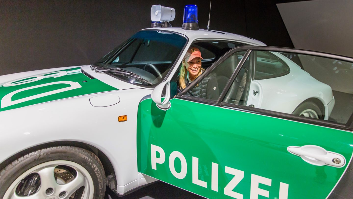 History up close: Donna Vekić in the Porsche 911 Carrera Coupé Police, the one millionth sports car produced by Porsche (2019)