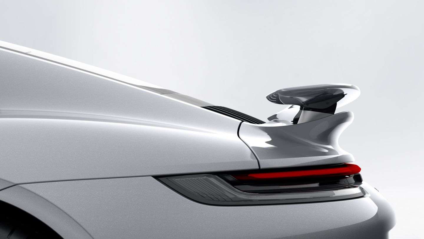 911 Turbo S, Porsche Active Aerodynamics (PAA), Heckflügel in Speed-Position, 2020, Porsche AG