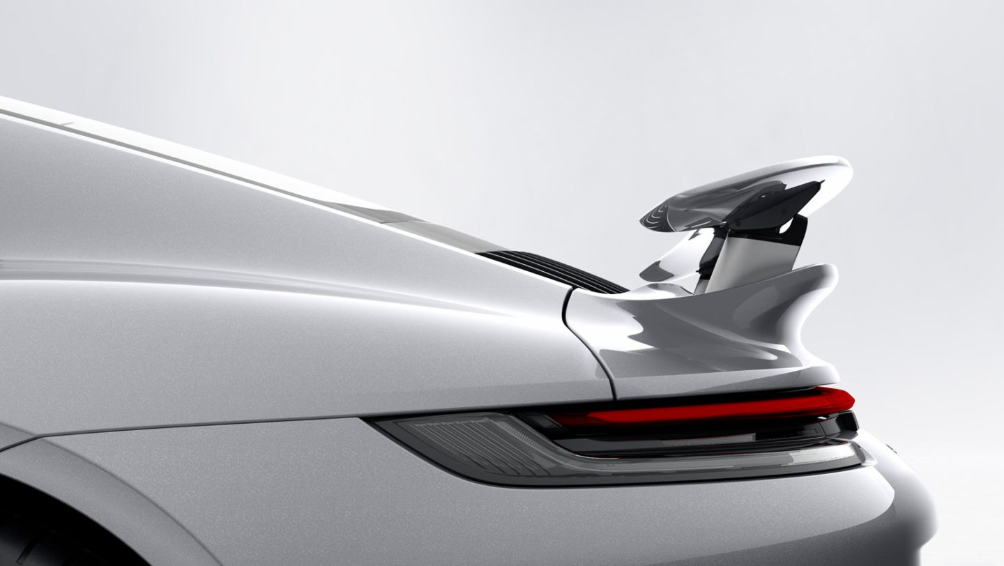 911 Turbo S, Porsche Active Aerodynamics (PAA), Heckflügel in Performance-Position, 2020, Porsche AG
