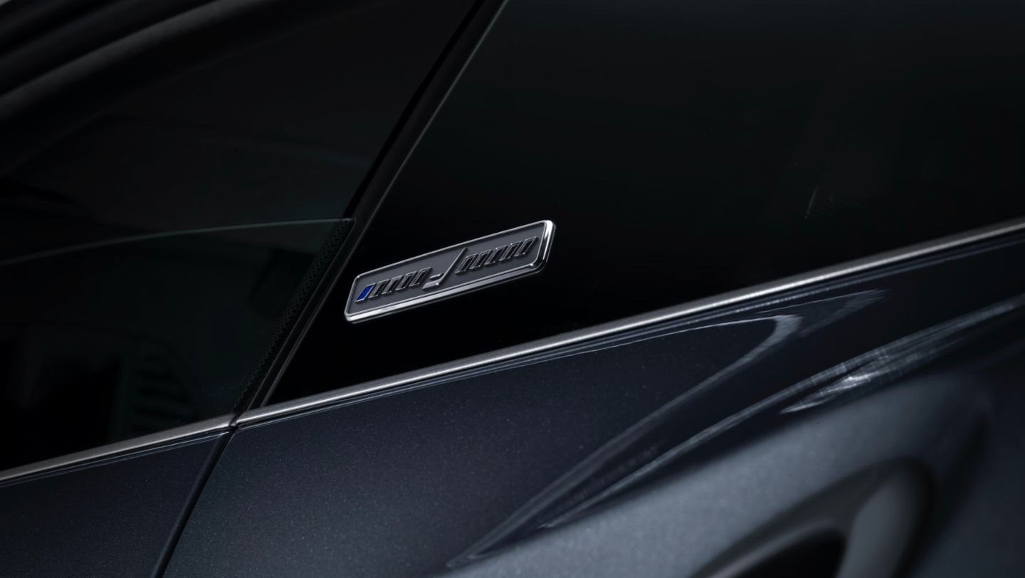 "Logo of the 911 Turbo S in limited edition ""Duet"", 2020, Porsche AG"