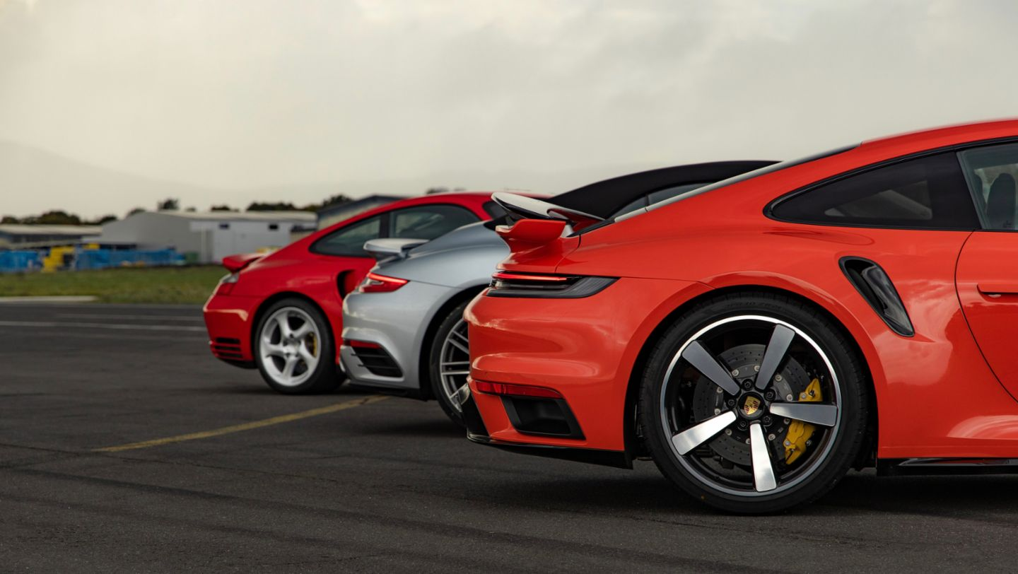 911 (996), 911 Turbo (991II), 911 Turbo (992), Hockenheimring, 2020, Porsche AG