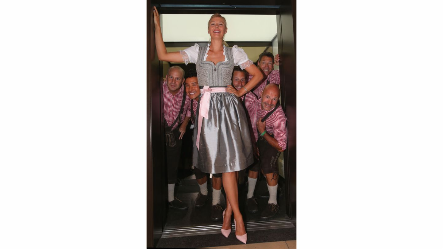 Maria Sharapova on her 27th birthday in a dirndl at the Spring Festival, Bad Cannstatt, Porsche AG