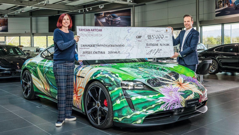 Nicole Pfister Fetz, President of Suisseculture Sociale, and Michael Glinski, CEO Porsche Schweiz AG, 2021, Porsche AG