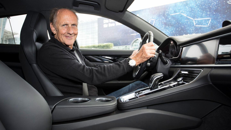 Hans-Joachim Stuck, former race car driver, Panamera, Tegernsee lake, 2016, Porsche AG
