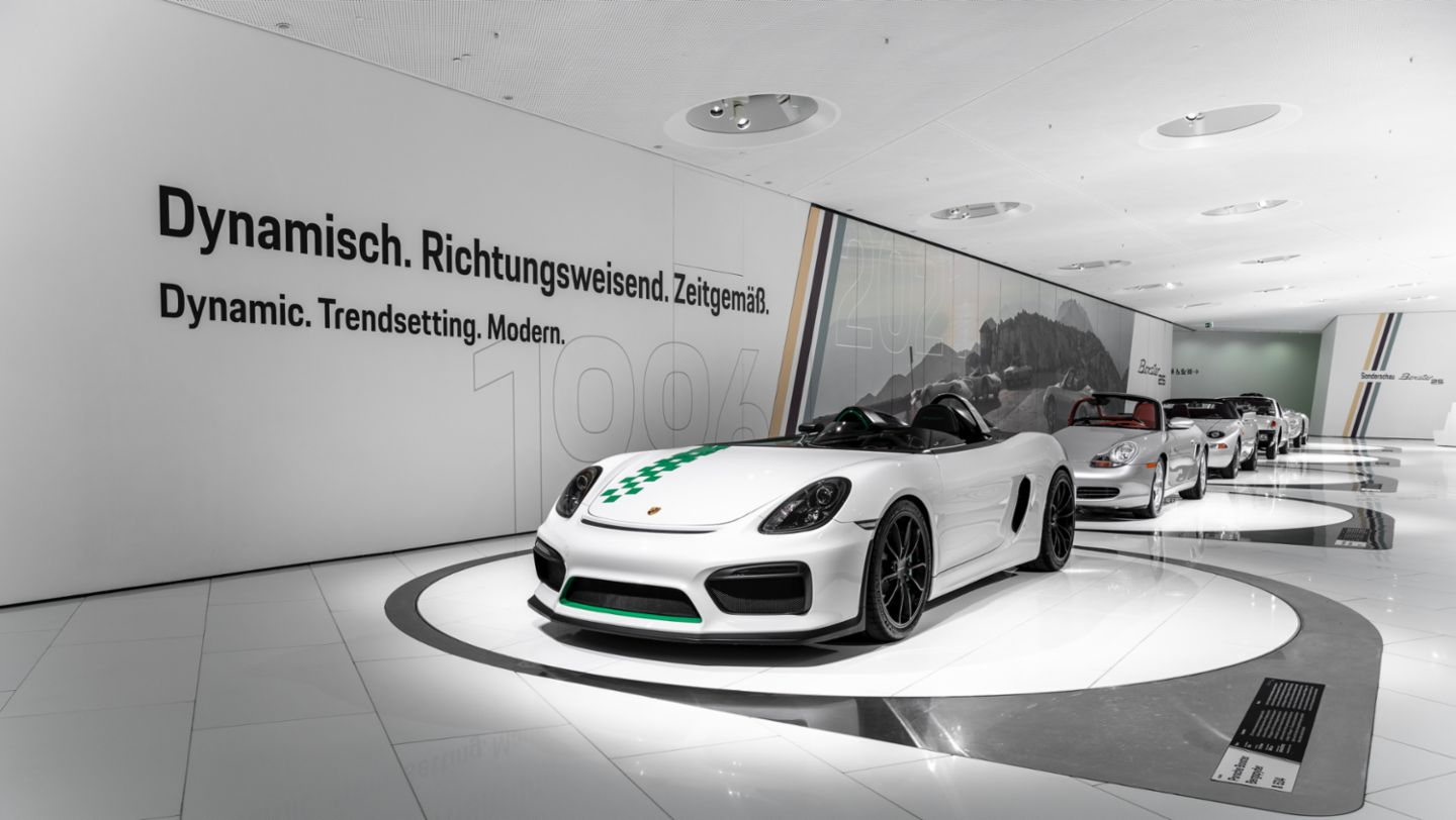 """Boxster Bergspyder, Cross-sectional model of the 986, 984, 914/4, 550 Spyder, Special exhibition """"25 Years of the Boxster"""", Porsche Museum, 2021, Porsche AG"""