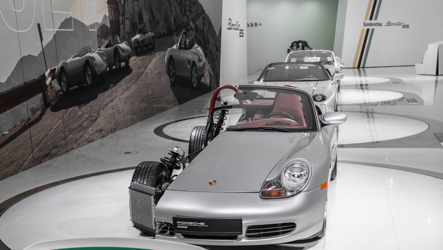 """Cross-sectional model of the 986, 984, 914/4, 550 Spyder, Special exhibition """"25 Years of the Boxster"""", Porsche Museum, 2021, Porsche AG"""