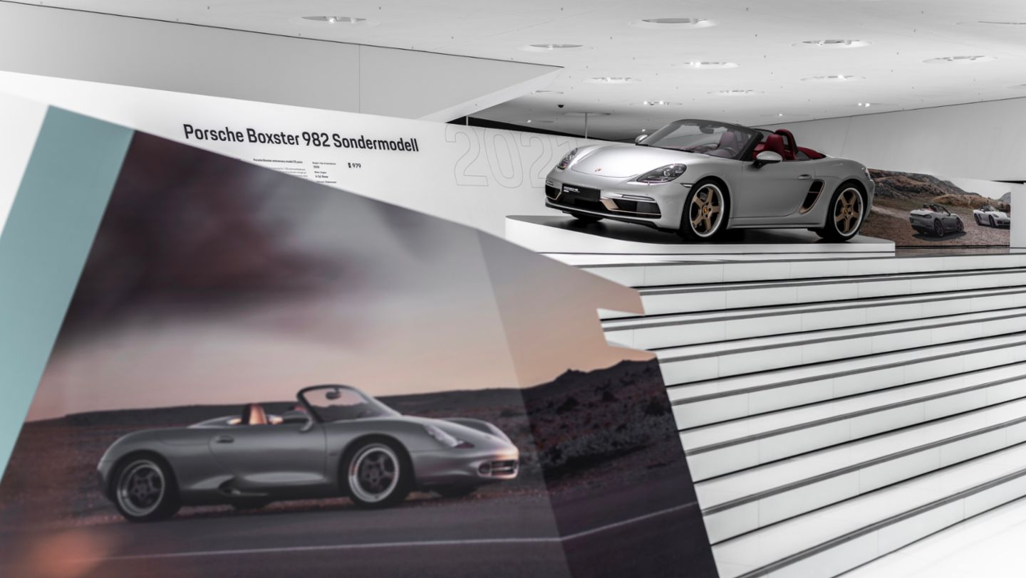 """Boxster 25 years, Special exhibition """"25 Years of the Boxster"""", Porsche Museum, 2021, Porsche AG"""