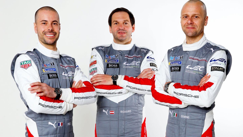 Frédéric Makowiecki, Richard Lietz, Gianmaria Bruni, l-r, 2021, Porsche AG