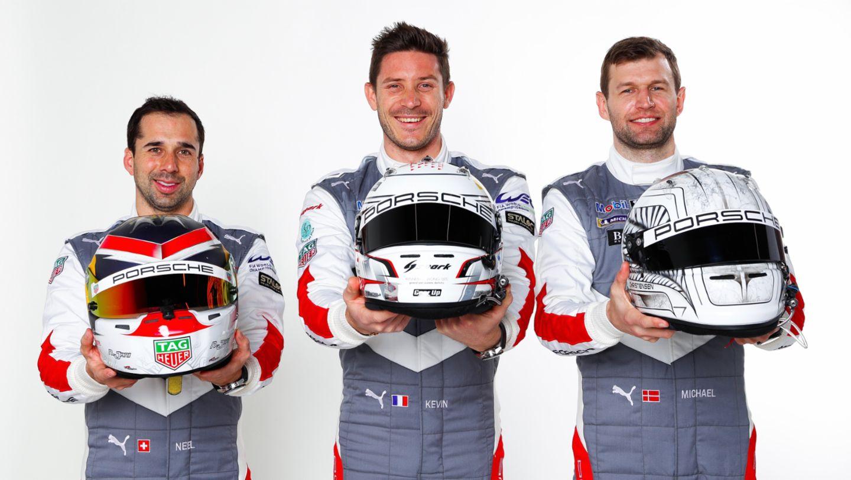 Neel Jani, Kévin Estre, Michael Christensen, l-r, 2021, Porsche AG