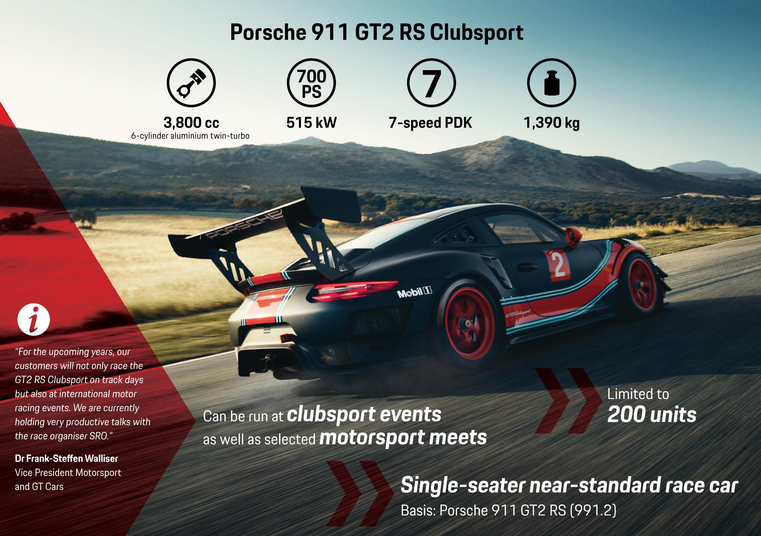 Porsche 911 GT2 RS Clubsport, infographic, 2018, Porsche AG