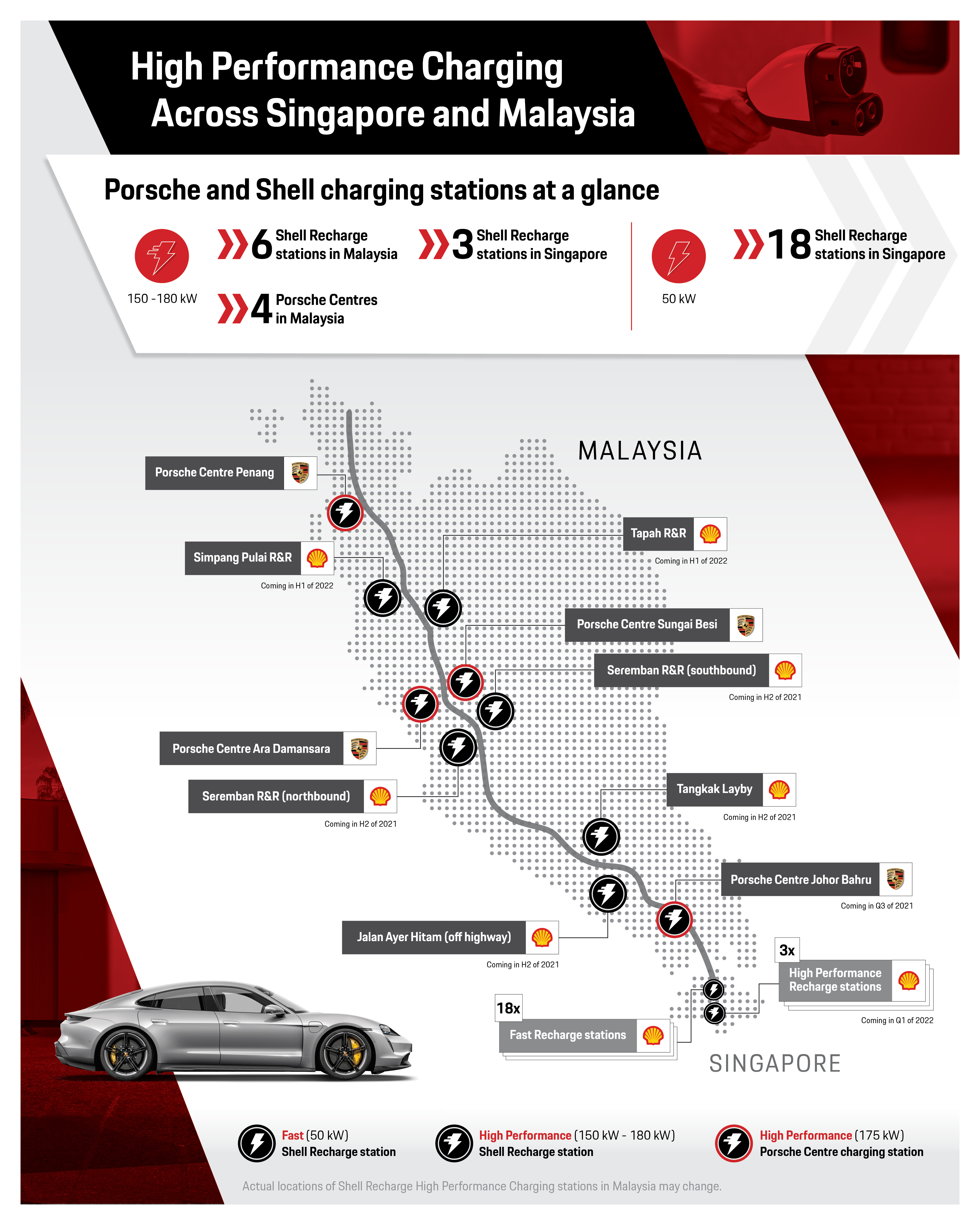 High performance charging across Singapore and Malaysia, Infographic, 2021, Porsche AG