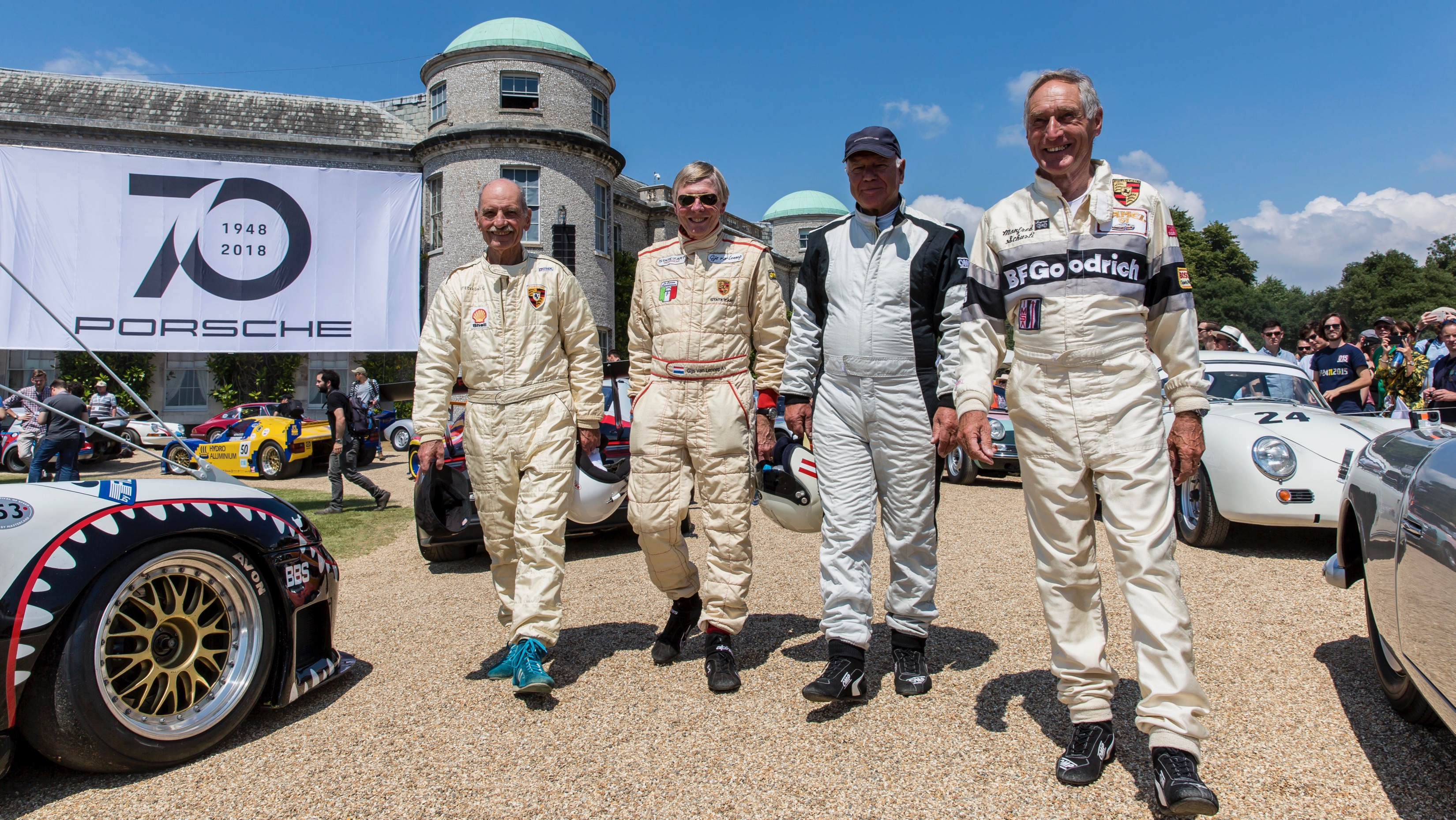 Günter Steckkönig, Gijs van Lennep, Rudi Lins, Manfred Schurti (l-r), Goodwood Festival of Speed, 2018, Porsche AG