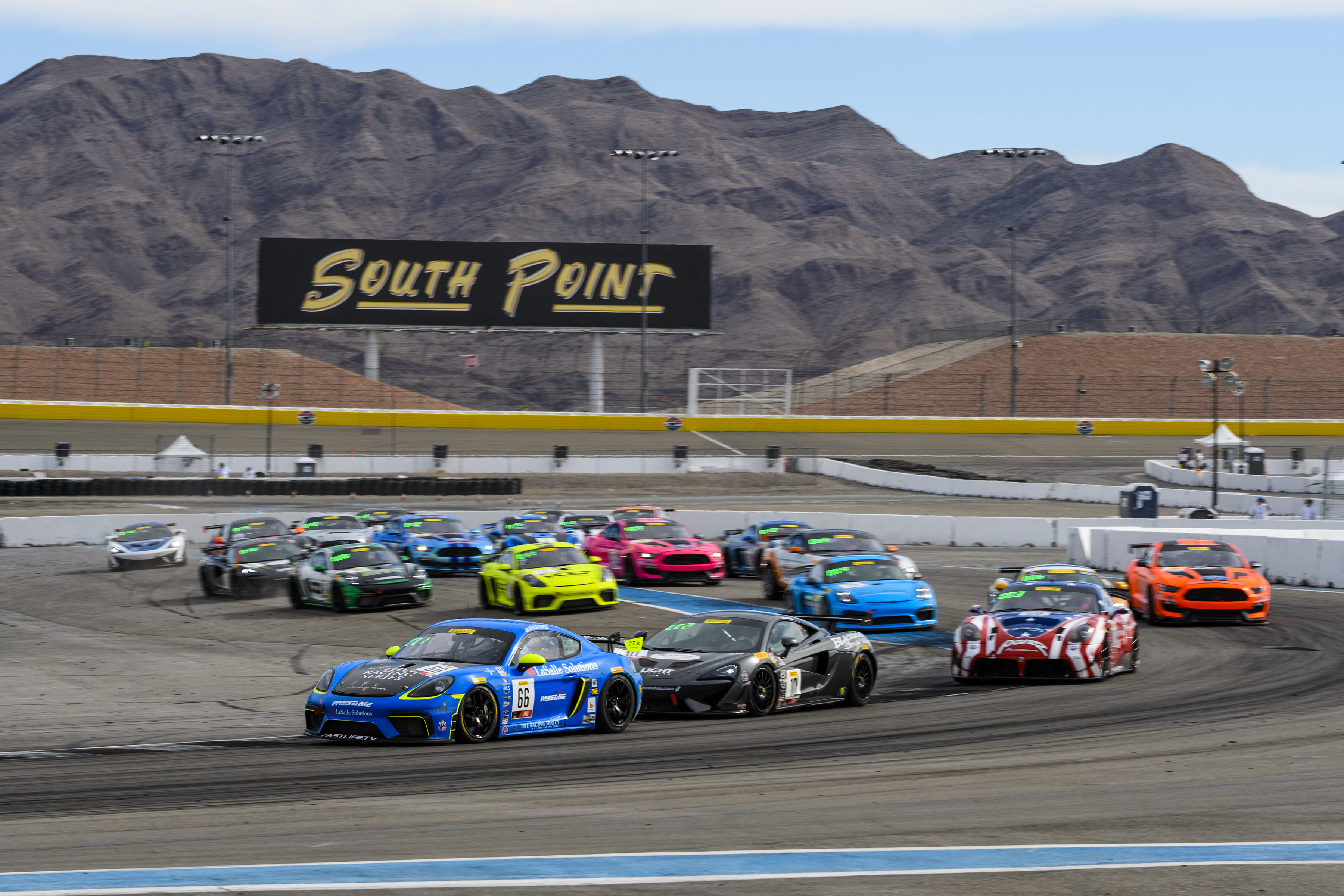 Porsche 718 Cayman GT4 Clubsport racing in SRO World Challenge at Las Vegas Motor Speedway, 2019, PCNA