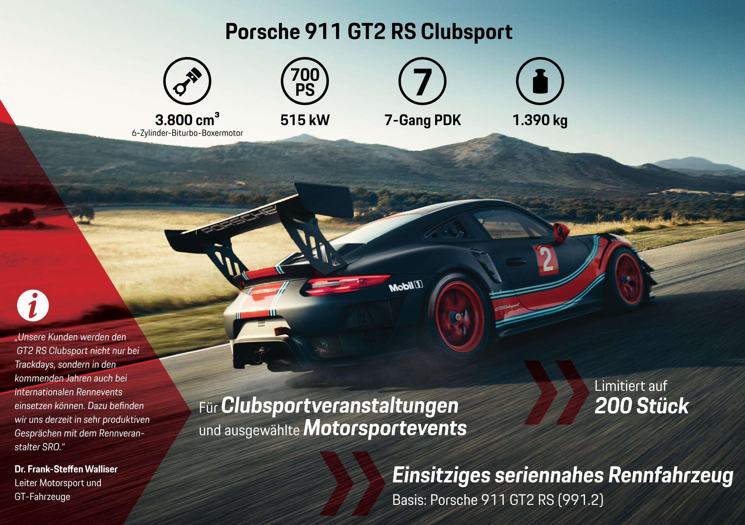 Porsche 911 GT2 RS Clubsport, Infografik, 2018, Porsche AG