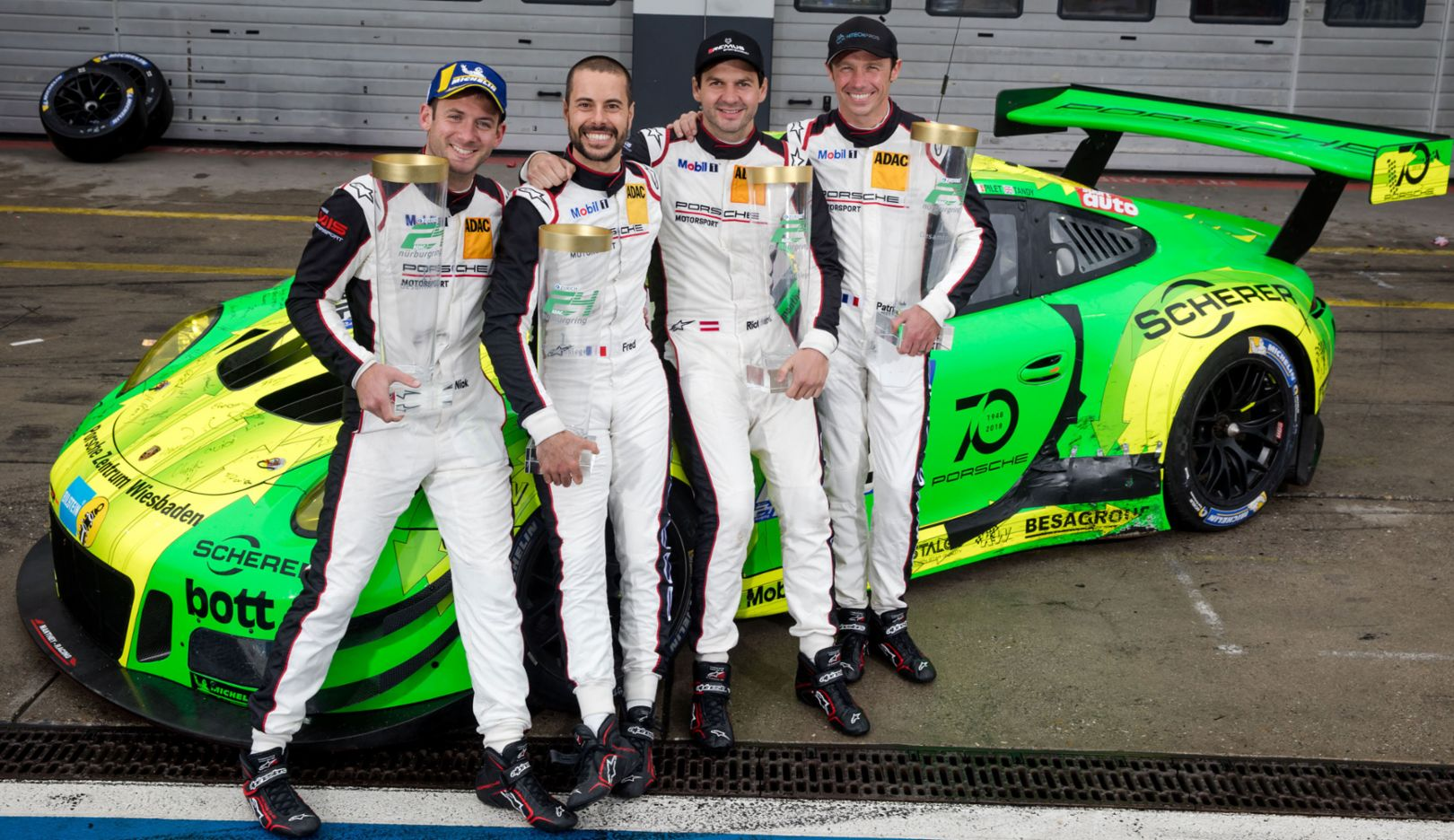 Nick Tandy, Frederic Makowiecki, Richard Lietz, Patrick Pilet, l-r, Manthey-Racing, 24-hour Nürburgring, 2018, Porsche AG