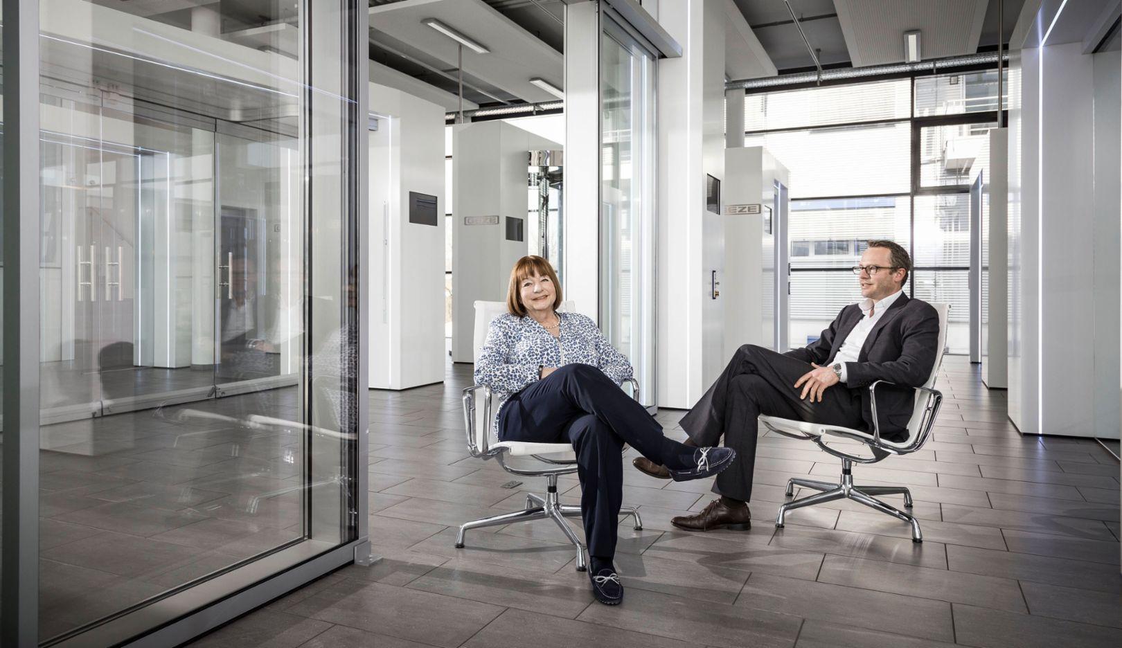 l-r Brigitte Vöster-Alber, Geze CEO, Marc Alber, 2016, Porsche Consulting GmbH