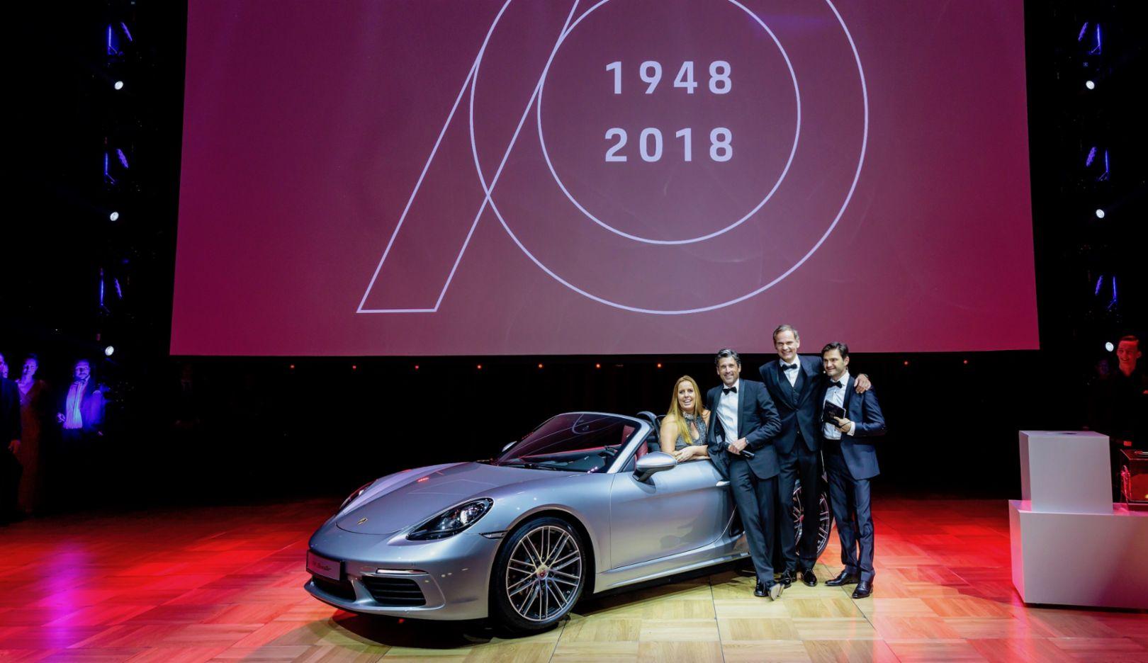 Yvonne Franke, Patrick Dempsey, Oliver Blume, Lenn Kudrjawizki, l-r, 718 Boxster, Leipziger Opernball, 2018, Porsche AG