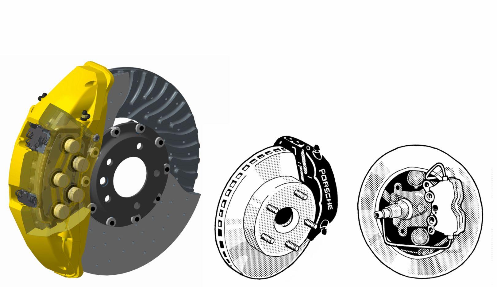 Ten-piston brake calipers, Anti-lock brakes (ABS), Annular disc brakes, 2015, 1983, 1962, Porsche AG
