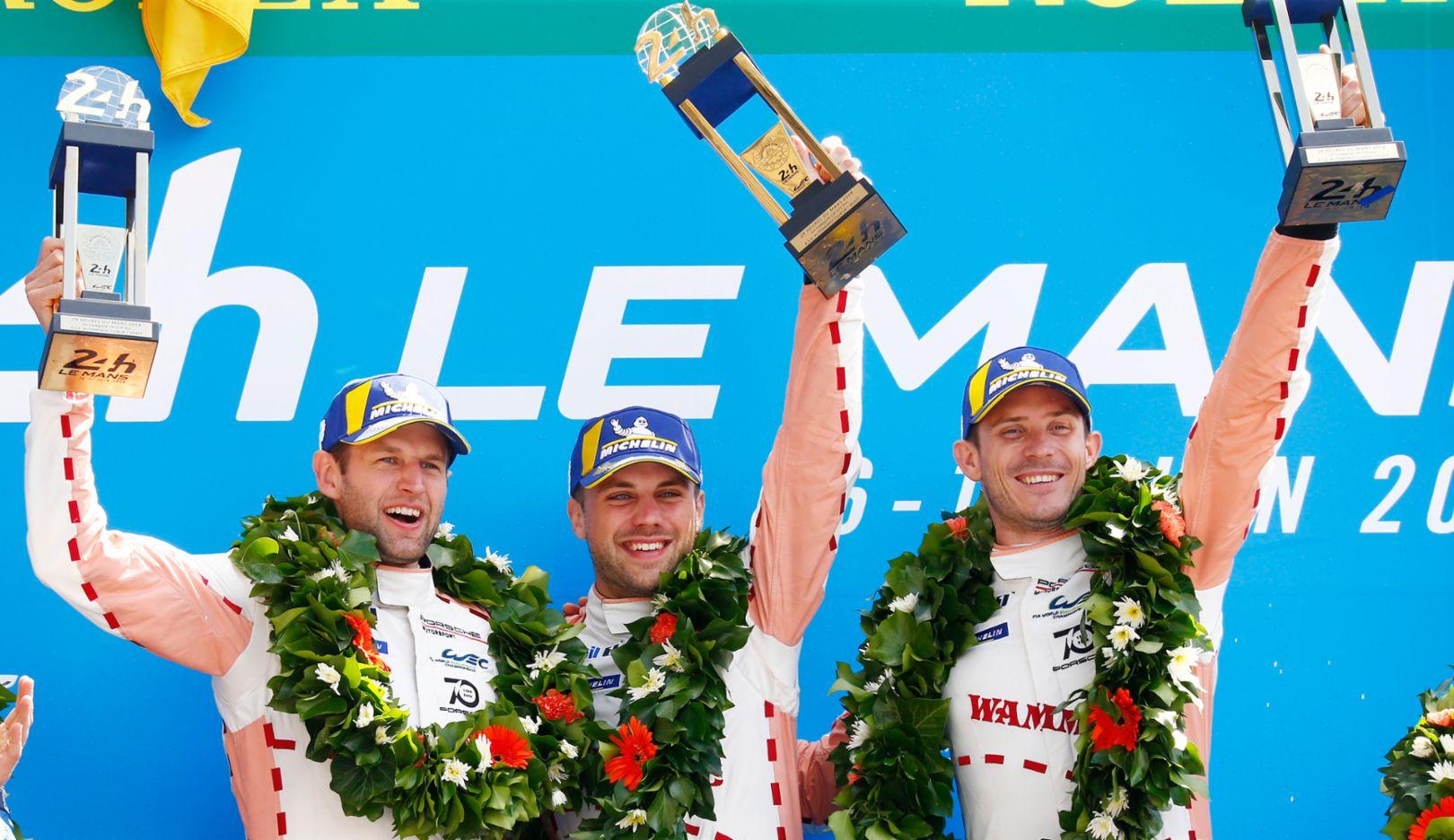 Экипаж Porsche GT (92), Михаэль Кристенсен (Дания), Лауренс Вантор (Бельгия), Кевин Эстр (Франция) (слева направо), Ле-Ман, 2018, Porsche AG