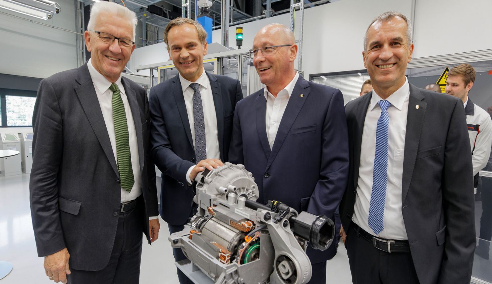 Winfried Kretschmann, Minister-President of Baden-Württemberg, Oliver Blume, Chairman of the Executive Board at Porsche, Uwe Hück, Chairman of the Group Works Council, Albrecht Reimold, Member of the Executive Board for Production and Logistics, l-r, Stuttgart, 2017, Porsche AG