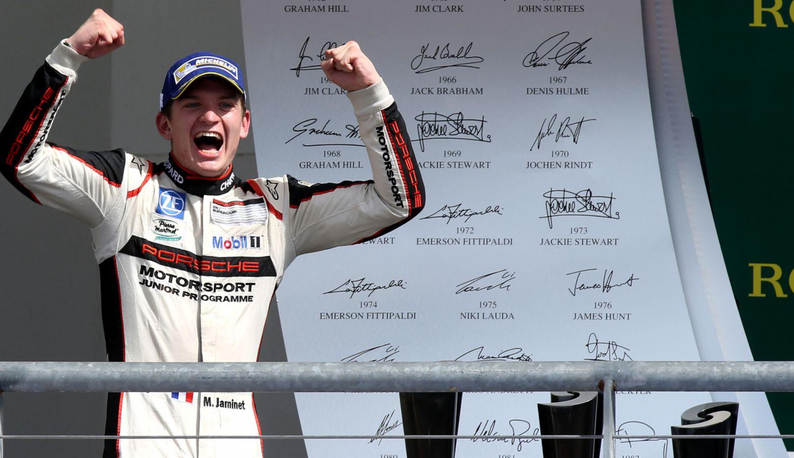 Mathieu Jaminet, Sieger des zehnten Laufs, Porsche Mobil 1 Supercup, Austin, 2016, Porsche AG