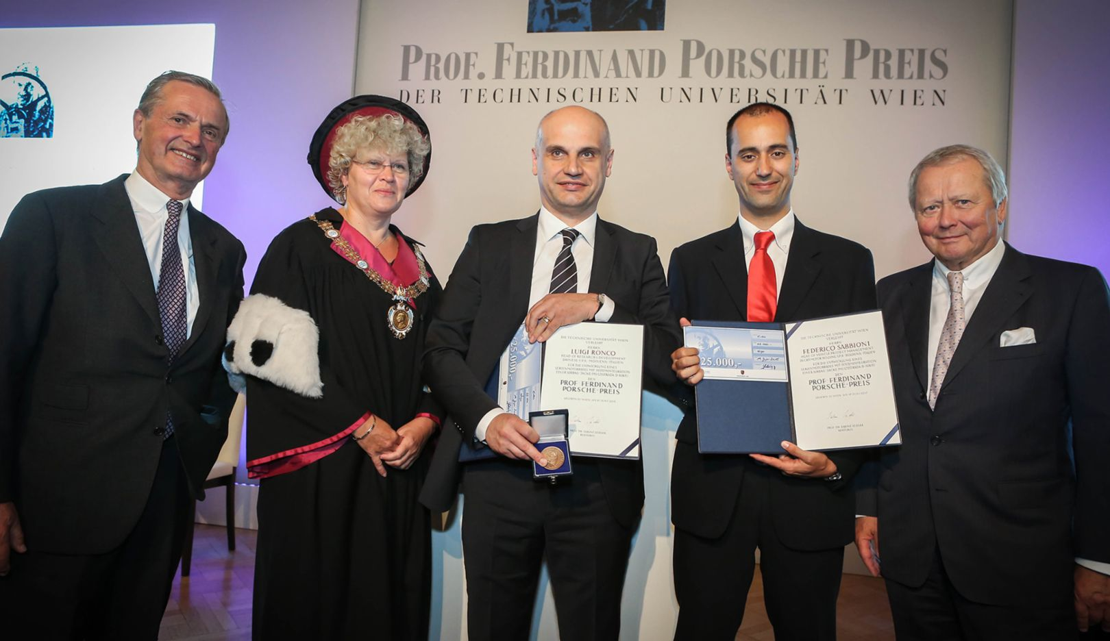 Dr Wolfgang Porsche, Chairman of the Supervisory Board of Dr. Ing. h.c. F. Porsche AG (r), together with Dr Hans Michel Piëch, Member of the Supervisory Board of Porsche AG, O. Univ. Prof. DI Dr Sabine Seidler, Rector of TU Wien and both award winners Luigi Ronco, Dainese S.p.A., and Federico Sabbioni, Ducati Motor Holding S.p.A. (l-r),  Professor Ferdinand Porsche Prize, 2015, Porsche AG