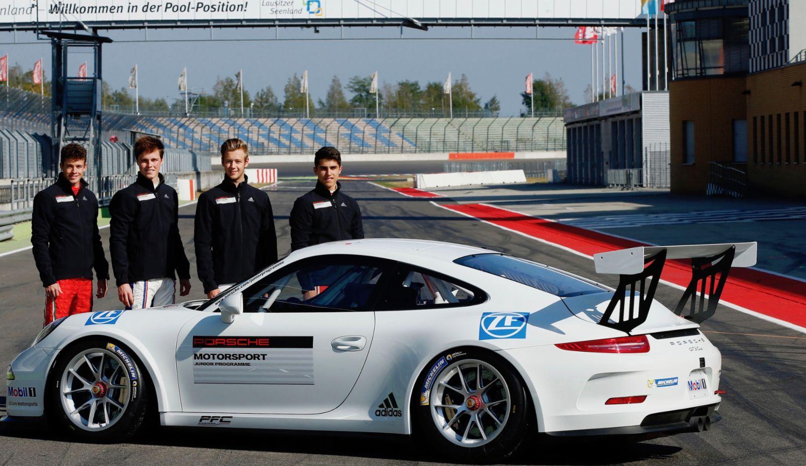 Mikkel Jensen, Ralph Boschung, Dennis Marschall, Thomas Preining, l-r, 911 GT3 Cup, Porsche Motorsport Junior-Sichtung, Lausitzring, 2016, Porsche AG
