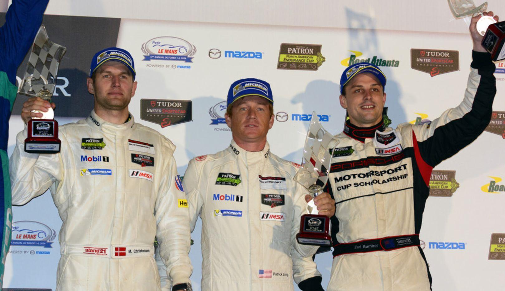 Patrick Long, Michael Christensen, Earl Bamber, Werksfahrer, l.-r., Petit Le Mans, Geogia, USA, 2014, Porsche AG