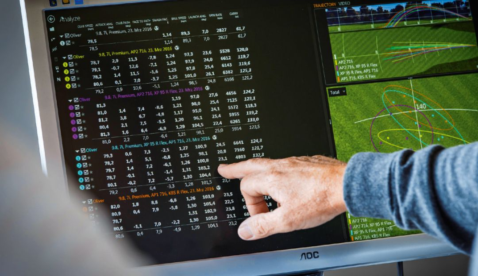 Les chiffres ne mentent pas : À l'aide d'un outil d'analyse, les golfeurs peuvent identifier les points forts et les points faibles de leur swing.