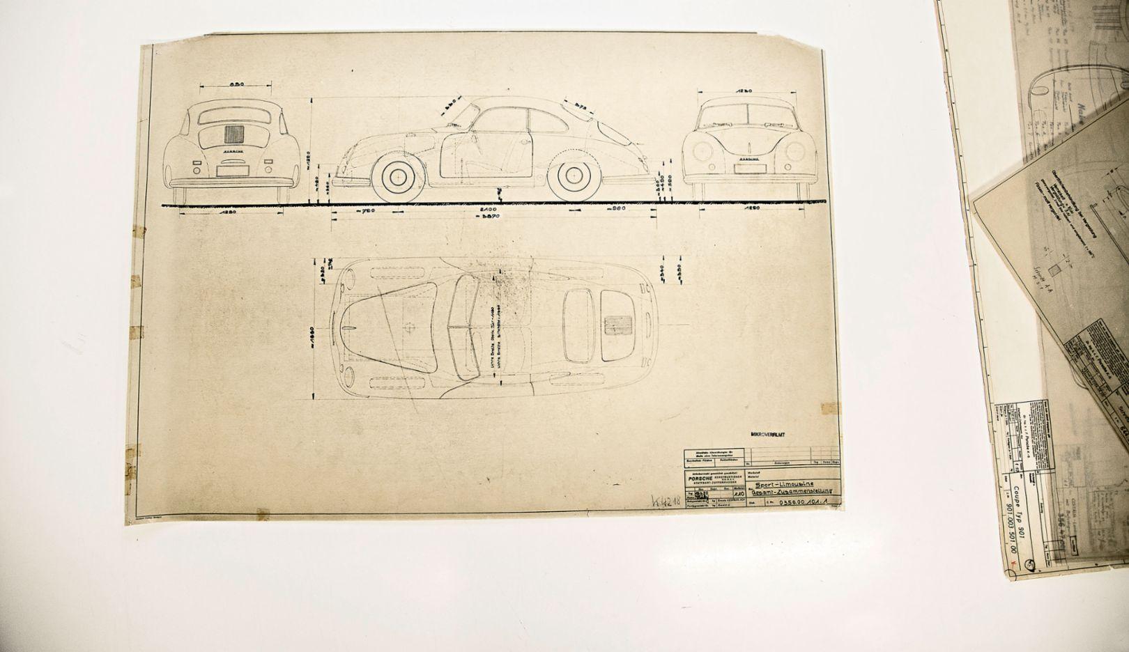 Porsche-Konstruktionszeichnungen, Weissach, 2018, Porsche AG