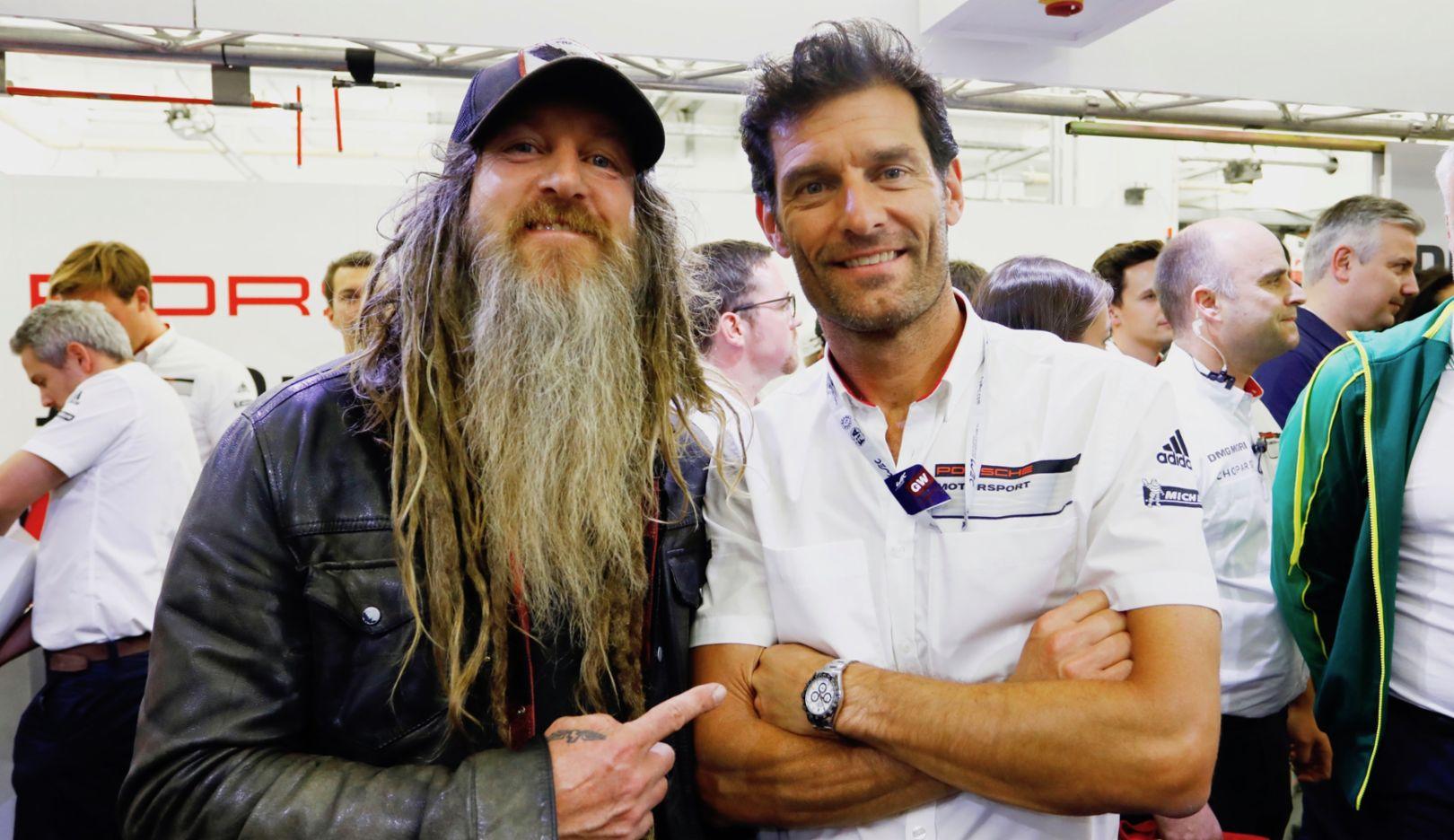 Magnus Walker, Mark Webber, l-r, Bahrain, 2017, Porsche AG