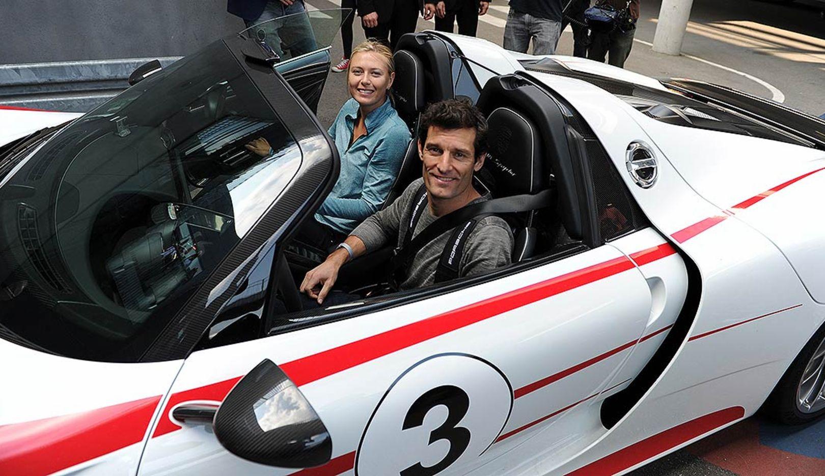 Maria  Sharapova, brand ambassador, Mark Webber, worksdriver, l.-r., 918 Spyder, 2014, Porsche AG