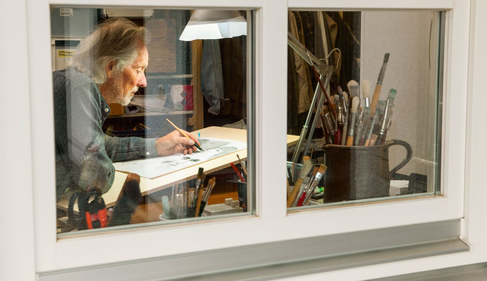 Klaus Voormann in his studio, 2016, Porsche AG