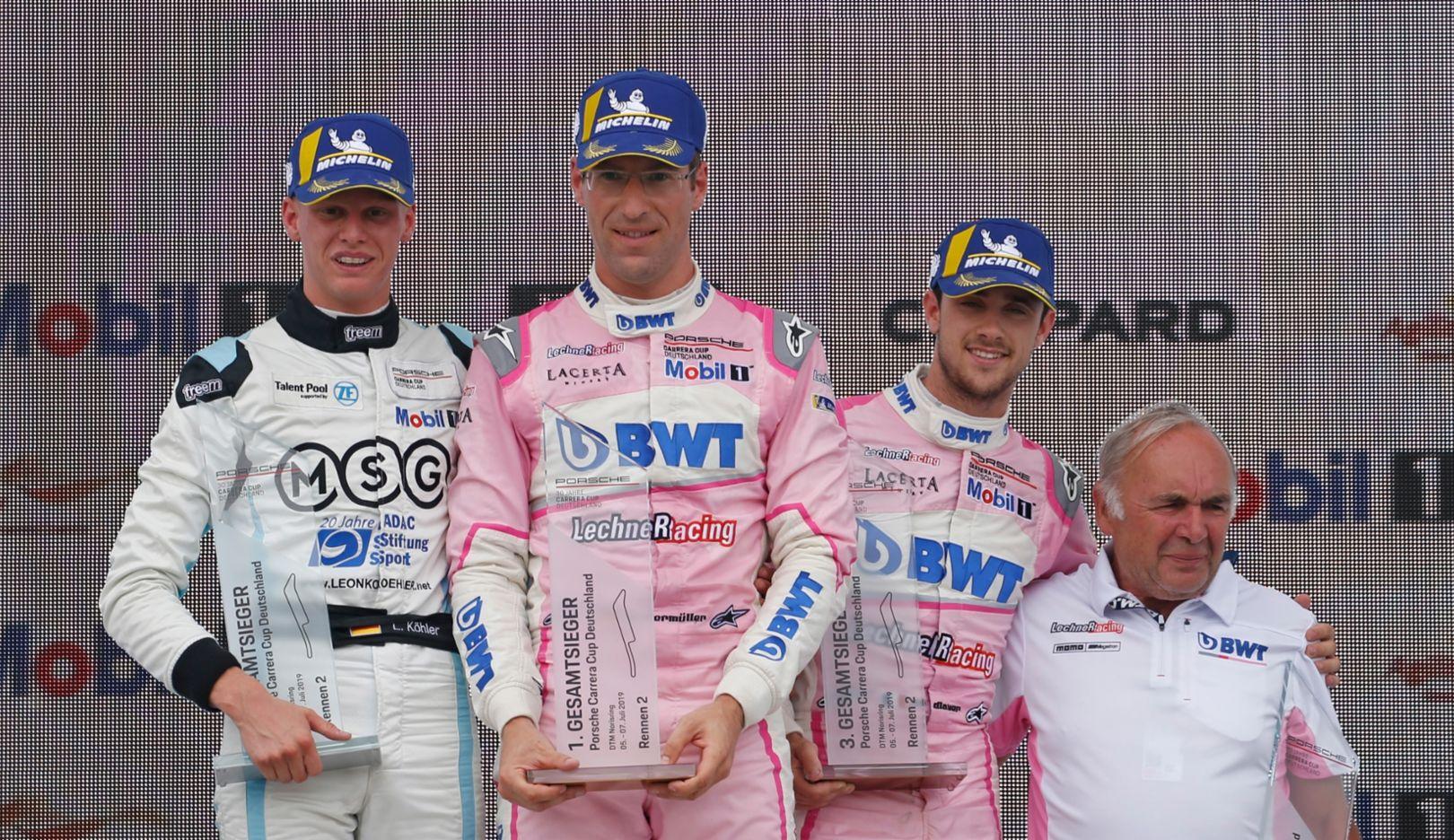 Leon Köhler, Michael Ammermüller, Julien Andlauer, Franz Meier, l-r, Porsche Carrera Cup Deutschland, Norisring, Nuremberg, Race 8, 2019, Porsche AG