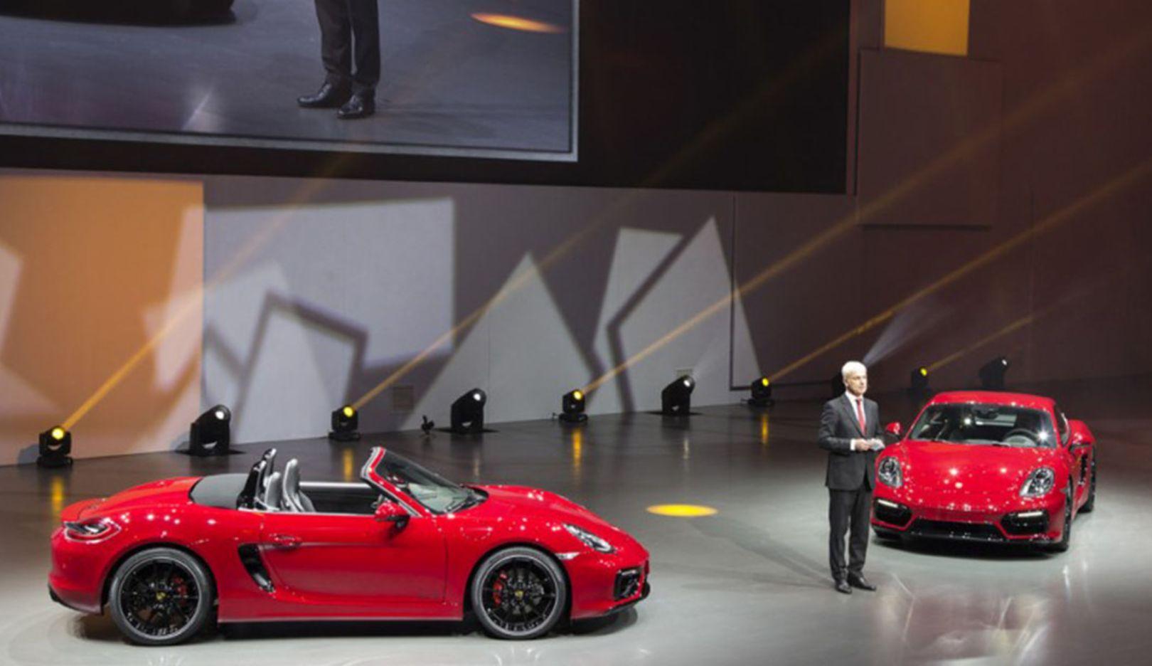 Matthias Müller, Vorstandsvorsitzender, Boxster GTS, Cayman GTS, Auto China, Peking, 2014, Porsche AG