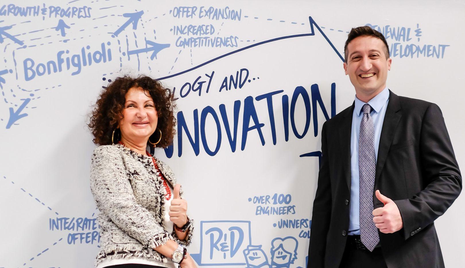 Sonia Bonfiglioli, CEO von Bonfiglioli, Giulio Busoni, Partner bei Porsche Consulting Italien, 2018, Porsche Consulting GmbH