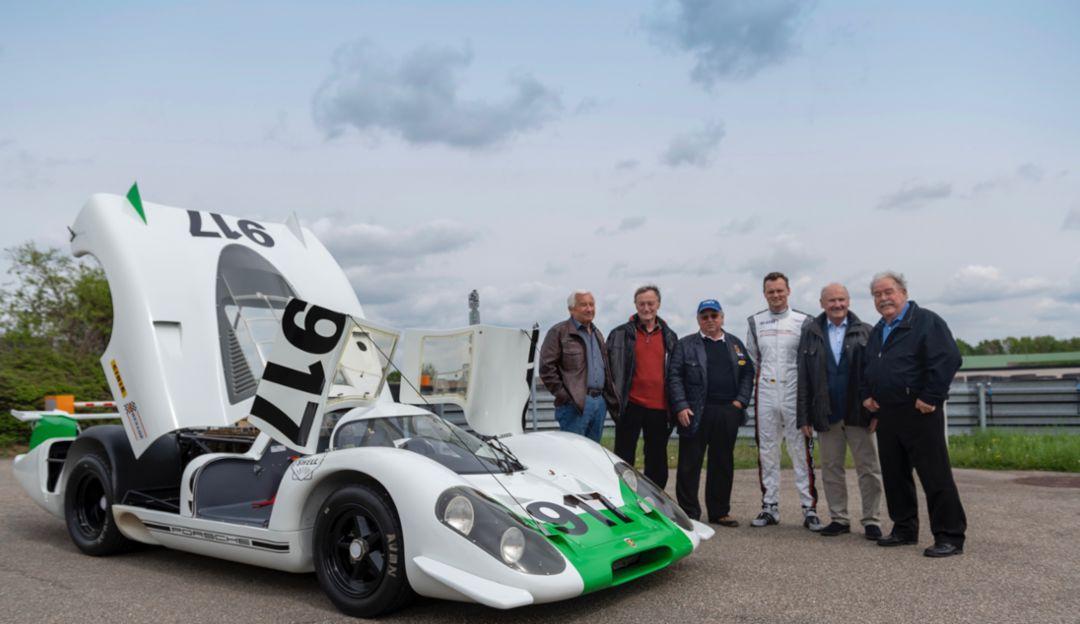 Roland Bemsel, Gerhard Küchle, Kurt Ahrens, Marc Lieb, Hermann Burst, Klaus Ziegler, l-r, 917-001, 2019, Porsche AG
