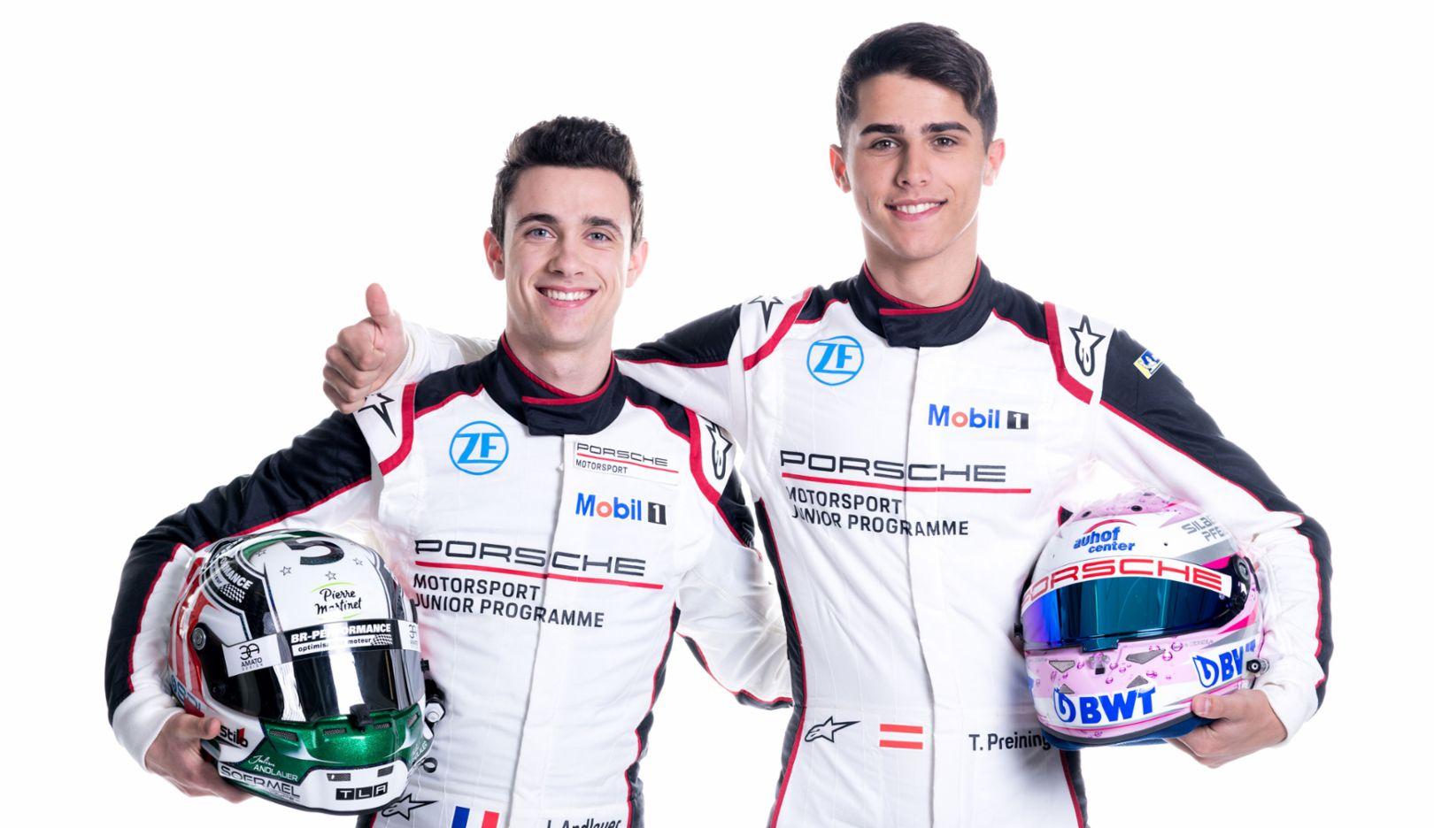 Julien Andlauer, Thomas Preining, l-r, Porsche Juniors, 2018, Porsche AG