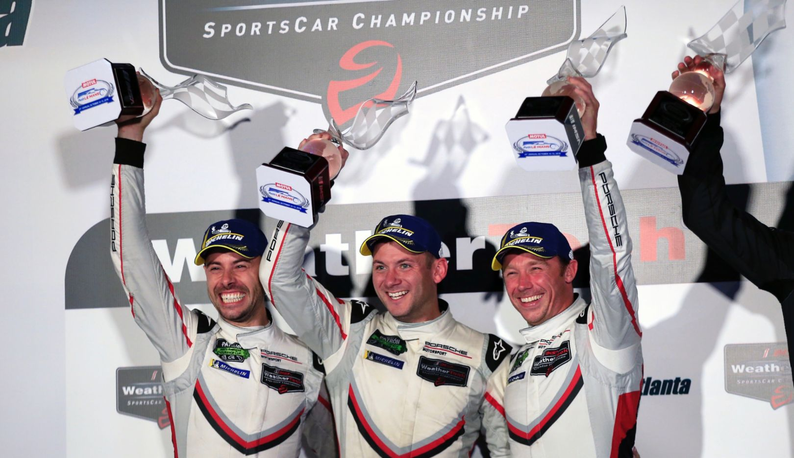 Frédéric Makowiecki, Nick Tandy, Patrick Pilet, l-r, Rennen, IMSA WeatherTech SportsCar Championship, Braselton, 2018, Porsche AG