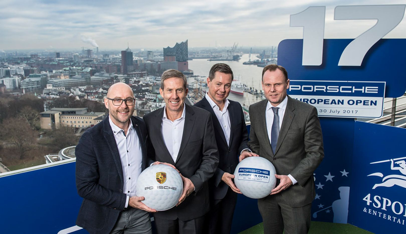 Oliver Eidam, Porsche AG, Keith Waters, European Tour, Tournament Director Dominik Senn, 4sports, and Hamburg's Sports Senator Andy Grote, l-r, Hamburg, 2016, Porsche AG