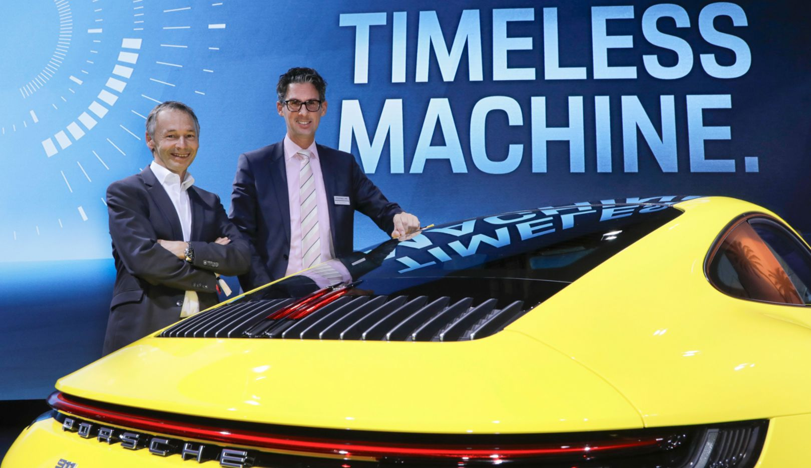 August Achleitner, Vice President Product Line 911 and 718, Frank-Steffen Walliser, Head of Motorsport and GT Road Vehicles, 911 Carrera 4S, 2018, Porsche AG