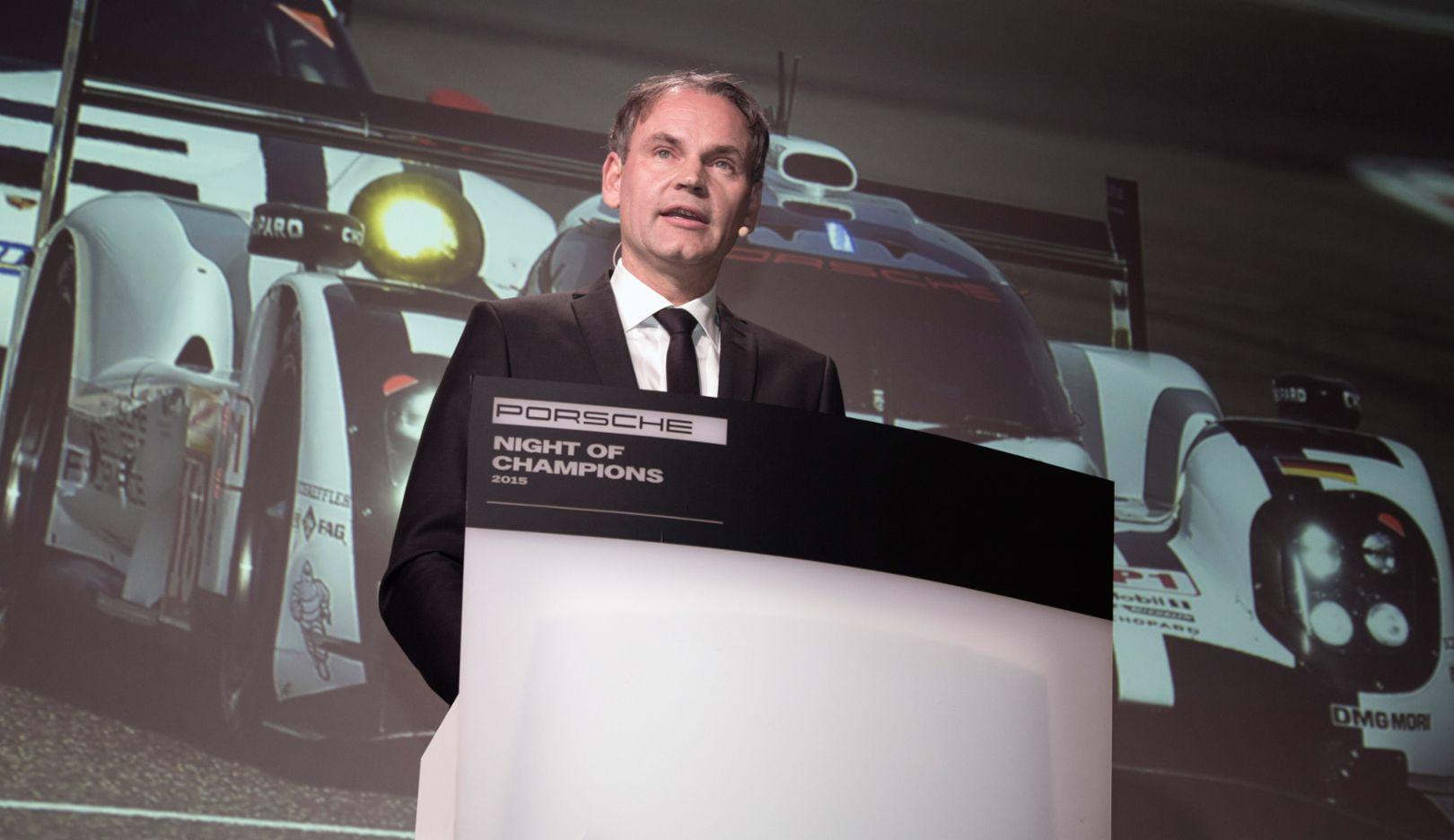 Oliver Blume, Porsche CEO, Porsche Cup Ceremony, Night of Champions motorsport gala, Weissach, 2015, Porsche AG