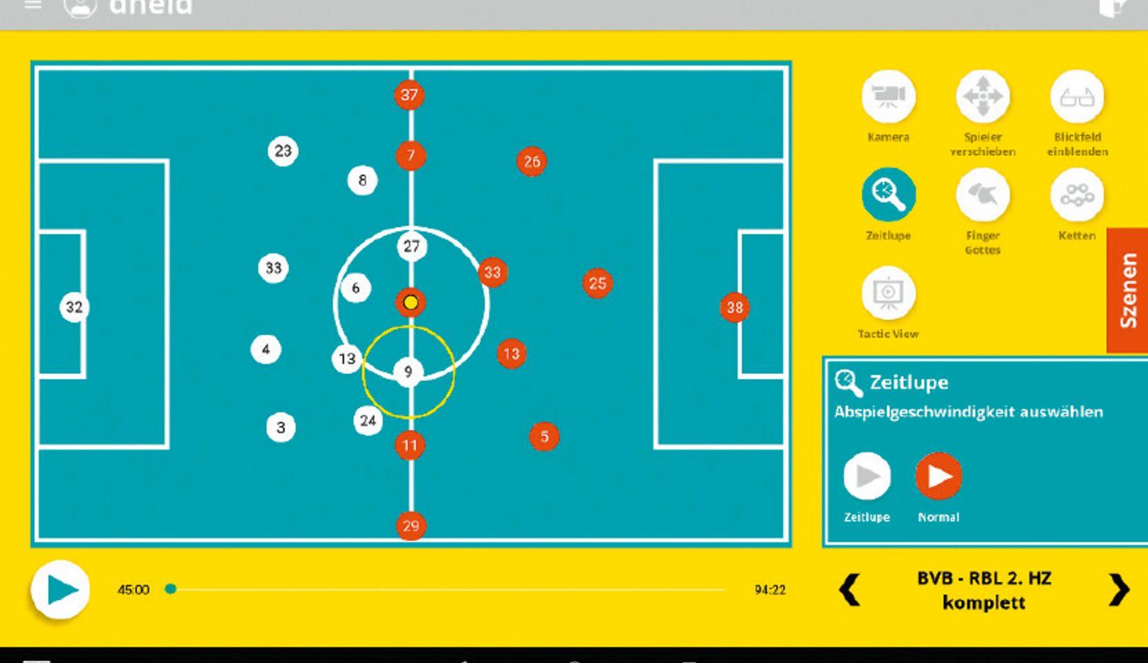 Preparación específica de cara al próximo contrincante: en el Soccerbot360 se pueden simular sistemas de juego. Así el jugador aprende a encontrar soluciones.