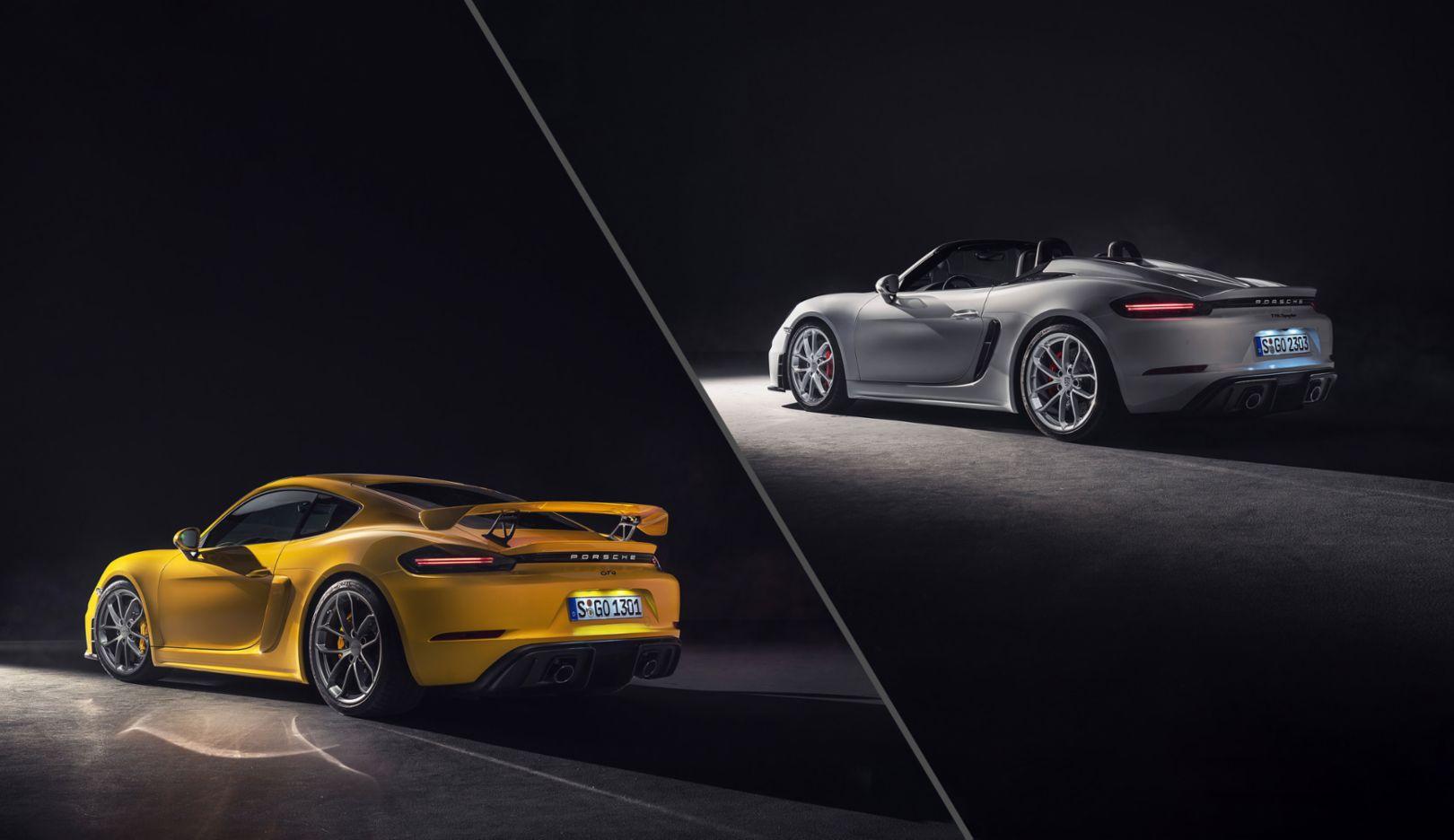 718 Cayman GT4, 718 Spyder, слева направо, 2019, Porsche AG