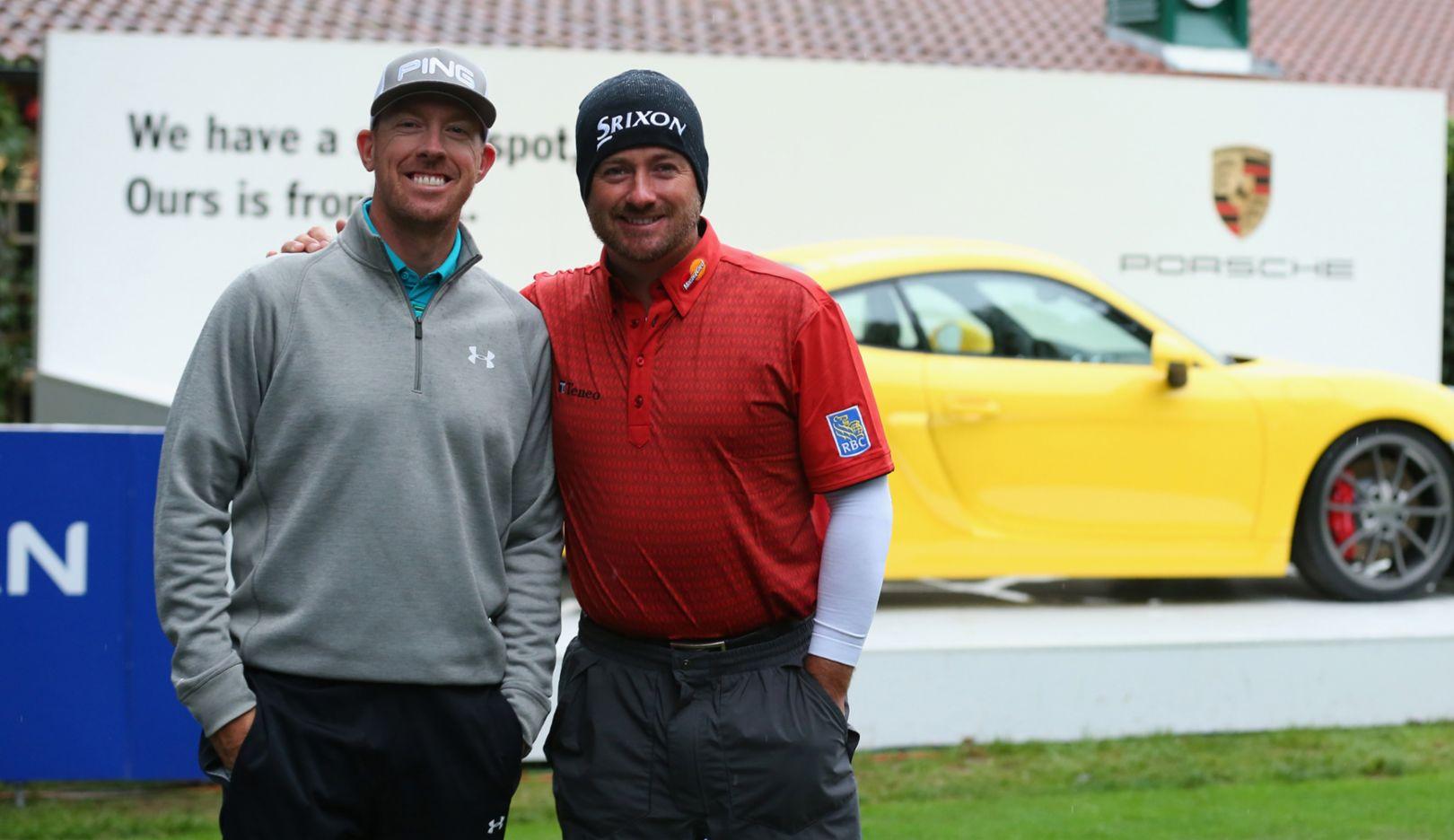 Hunter Mahan (l.), Graeme McDowell, golfer, Cayman, 2015, Porsche AG