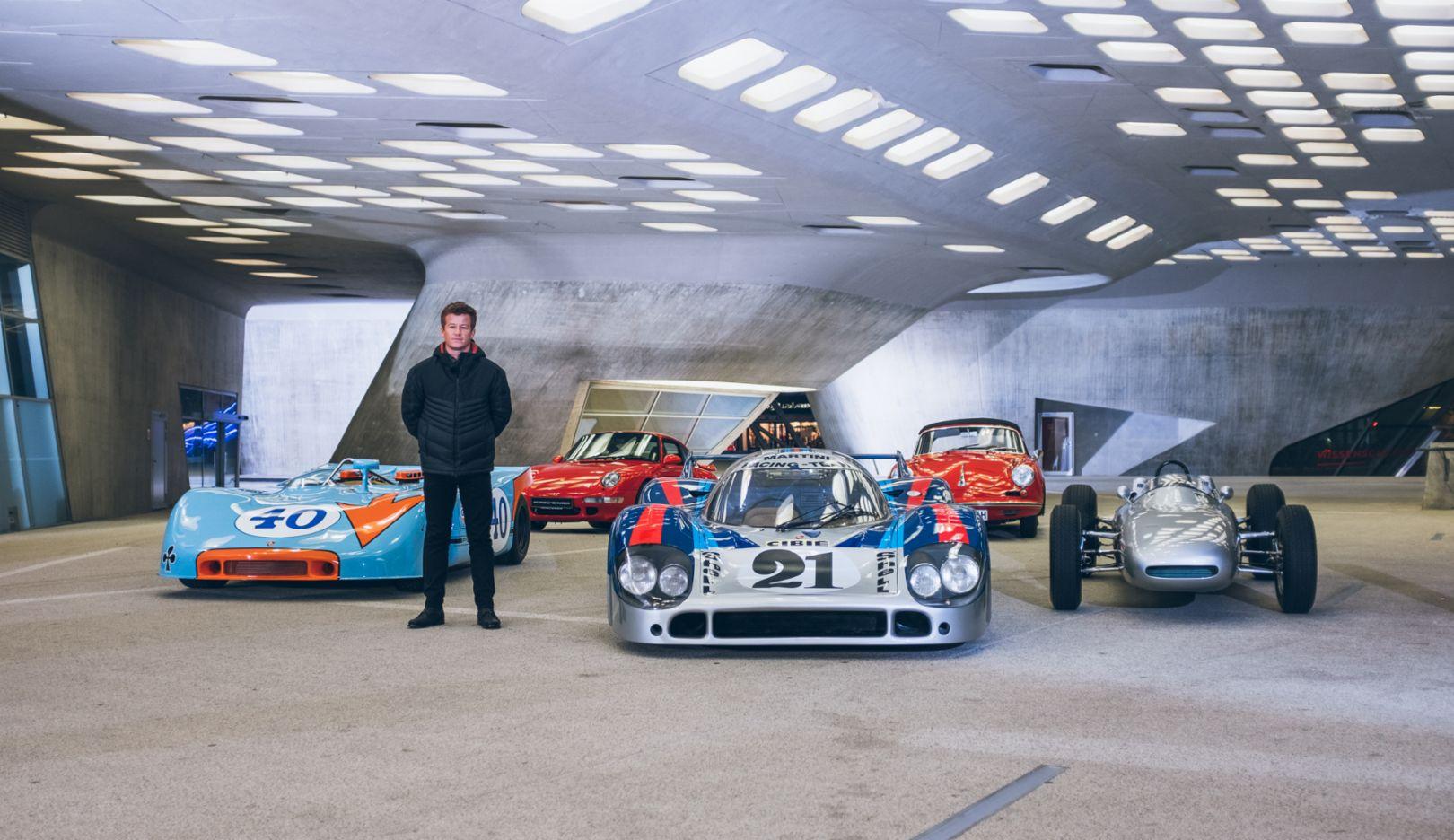 Patrick Long, Werksfahrer, 908/3 Spyder, 993 Turbo S 3.6., 917 LH (Langheck), 356 B GS Carrera GT, 804 Formel 1 Rennwagen, 2018, Porsche AG