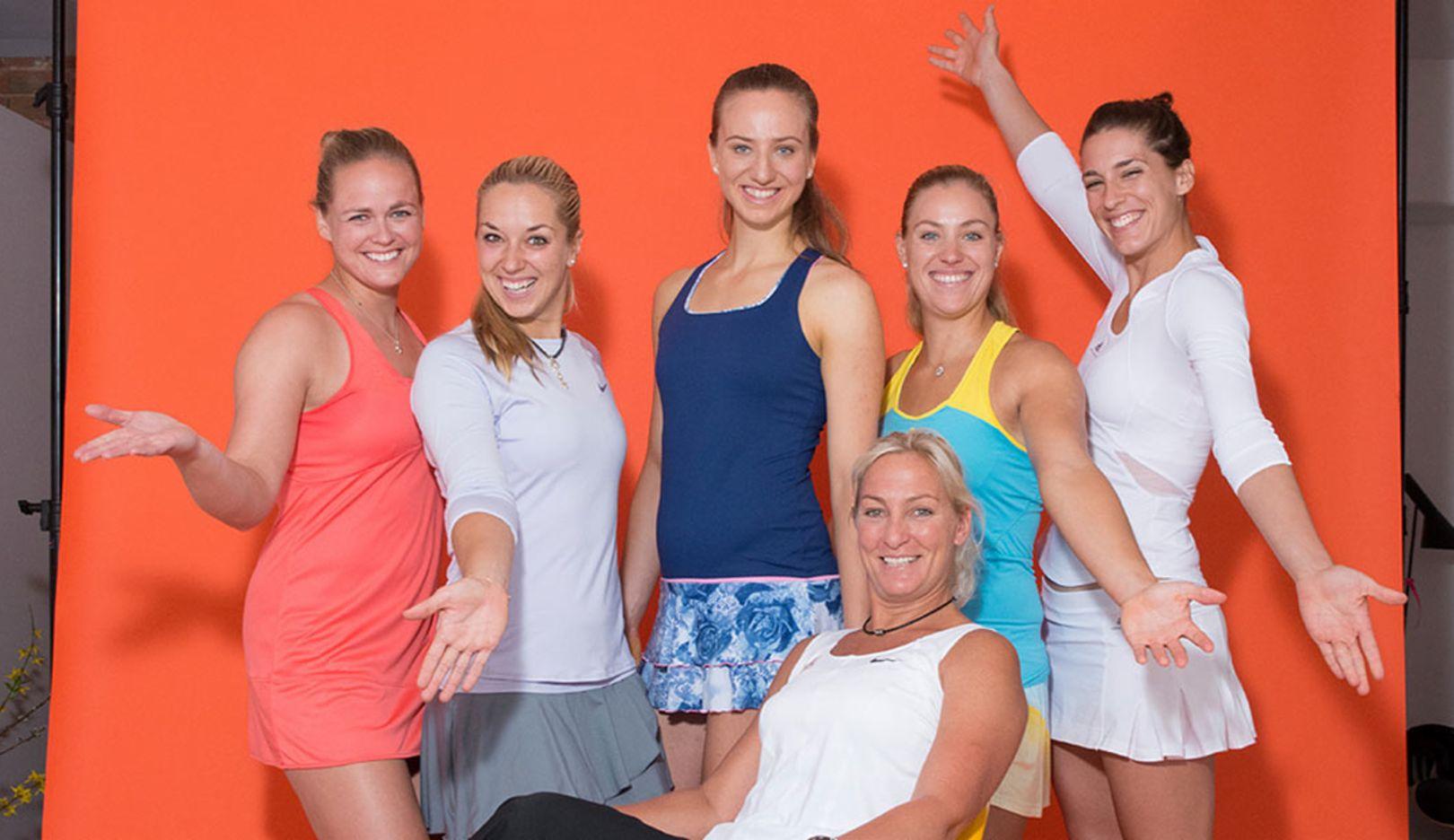 Anna-Lena Grönefeld, Sabine Lisicki, Mona Barthel, Barbara Rittner, Angelique Kerber, Andrea Petkovic, l.-r., Porsche Team Deutschland, 2014, Porsche AG