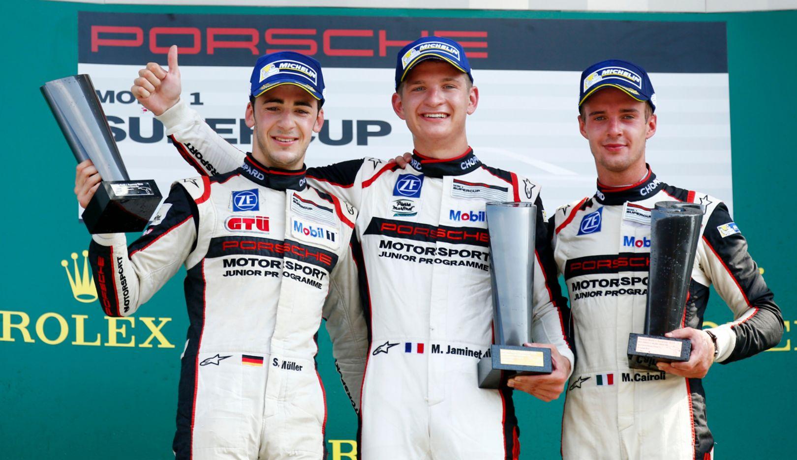 Sven Müller, Mathieu Jaminet, Matteo Cairoli (l-r), Porsche Mobil 1 Supercup, Spa, 2016, Porsche AG