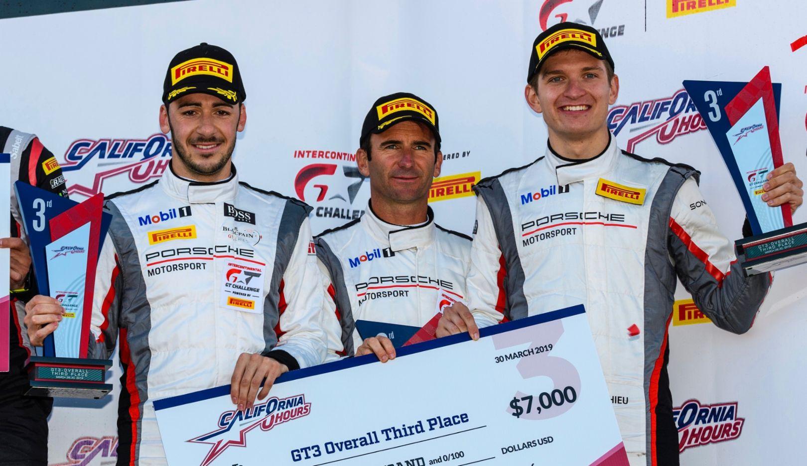 Sven Müller, Romain Dumas, Mathieu Jaminet, l-r, Park Place Motorsports, race, International GT Challenge, Laguna Seca, 2019, Porsche AG