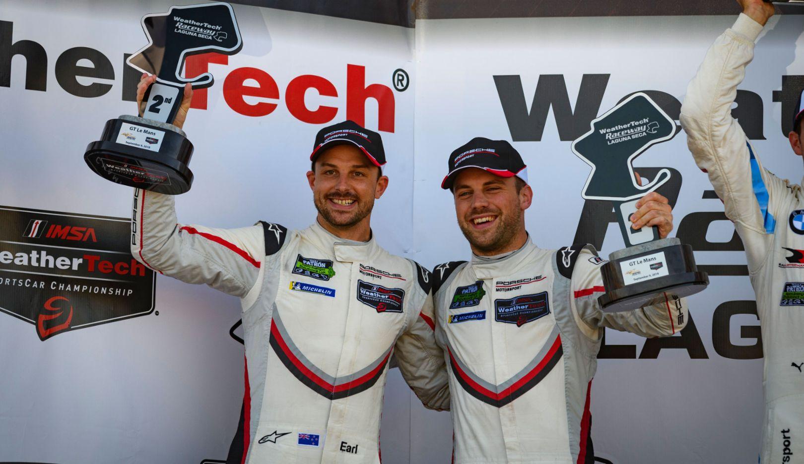 Earl Bamber, Laurens Vanthoor, IMSA WeatherTech SportsCar Championship, Rennen, Laguna Seca, 2018, Porsche AG